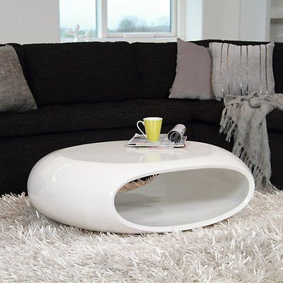 design couchtisch space fiberglas tisch oval weiss hochglanz glasfaser 100x70cm couchtisch. Black Bedroom Furniture Sets. Home Design Ideas