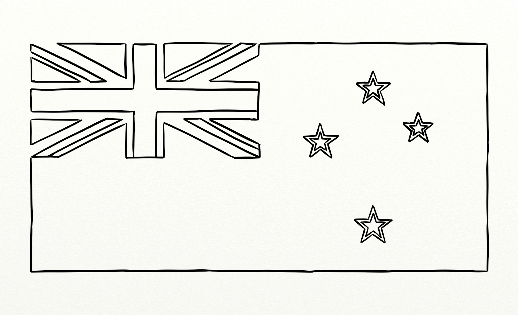 New Zealand Flag Outline For Colouring In