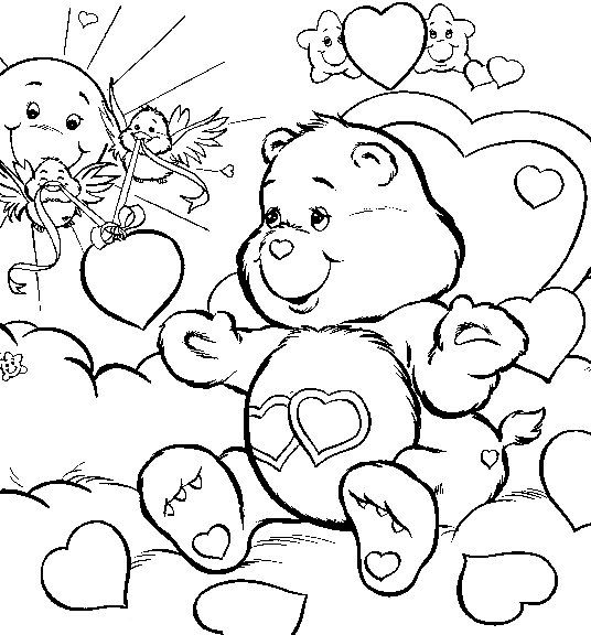 Freeadultcoloringdownloadsasian Care Bears Love Free - care bear colouring pages to print