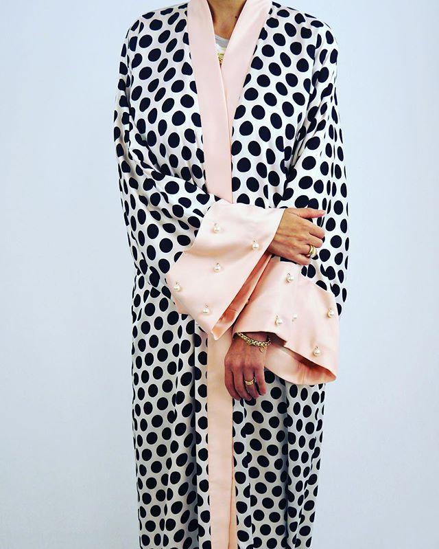 Dalmatian Dots + pearls & Blush satin sleeves| @beyoudubai.com www.beyoudubai.com | Abaya#modestfashion