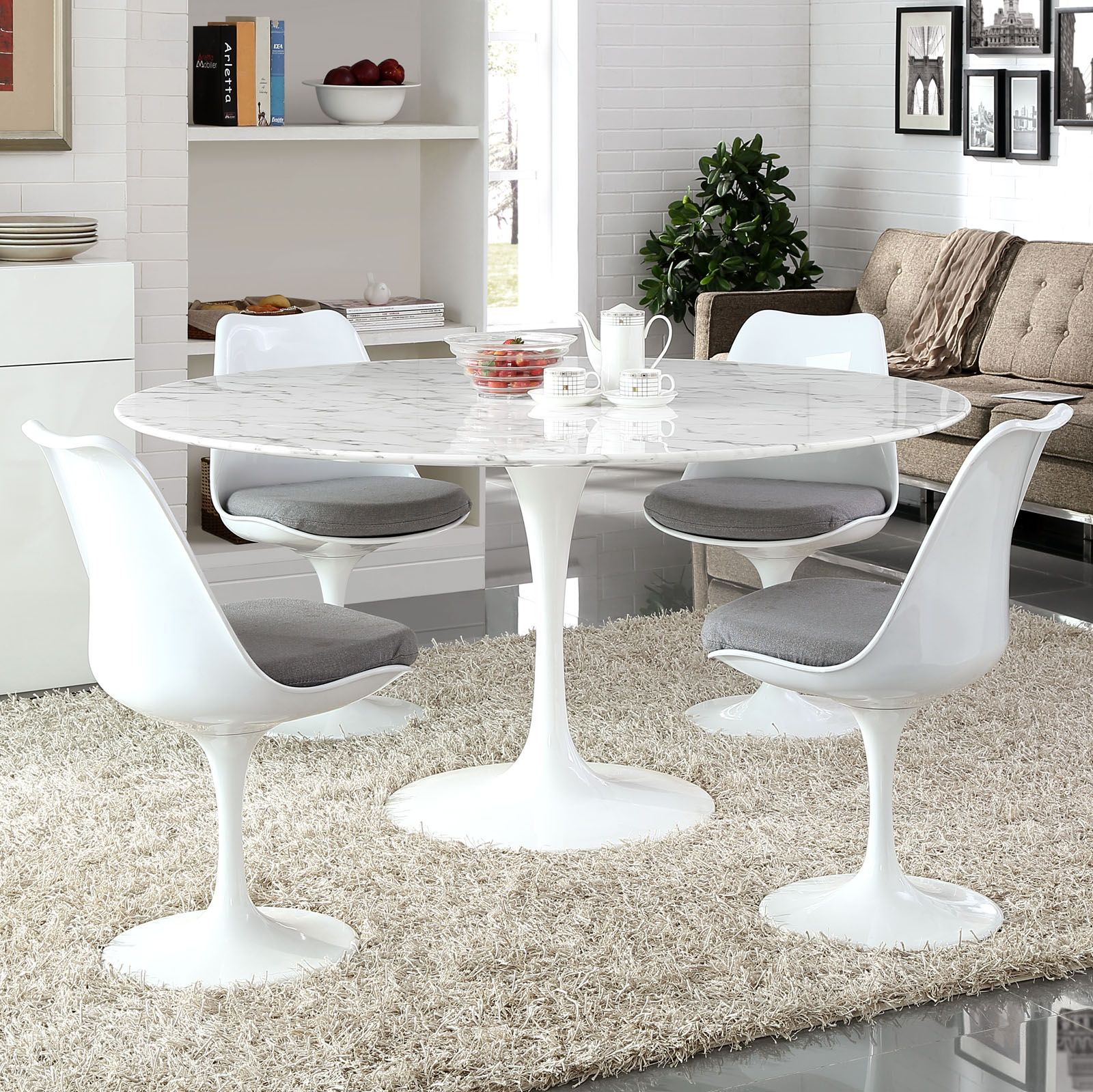 "Contemporary Round Dining Room Tables Entrancing Lippa 54""or 60"" Round Dining Tableregular Or Marble Top  60 Design Inspiration"