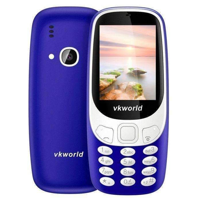 Dark Blue Vkworld Z3310 Feature Phone 2.4 Inch 3d Screen 1450mah Battery Class K Amplifier Dual Sim