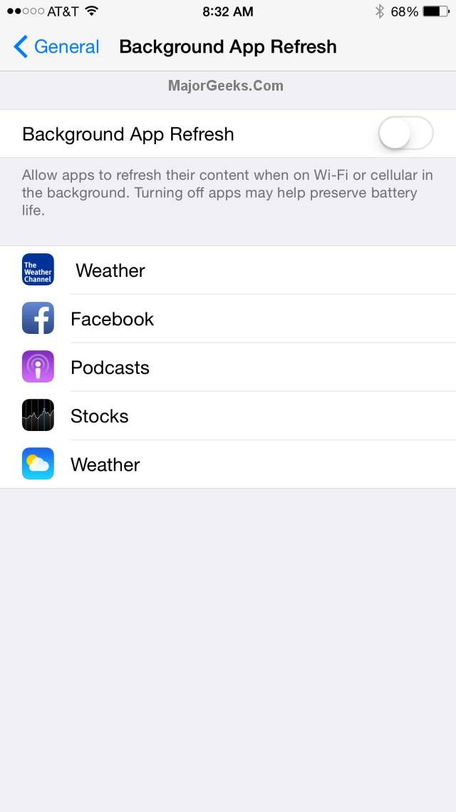 Improve iPhone battery life by disabling 'Background App
