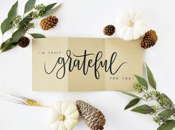 I'm Truly Grateful For You Card - Kraft /Thanksgiving Card, Fall Card, Hand Lettered Card, Love Card