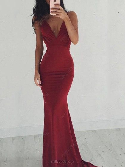 6427958be222 Hot Trumpet/Mermaid V-neck Jersey Sweep Train Ruffles Backless Prom Dresses