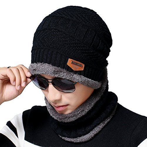 Kumer Men Slouchy Beanie Winter Hat Scarf Set Knitted Hat Thick Knit Skull  Cap at Amazon Men s Clothing store  1620879eeaa