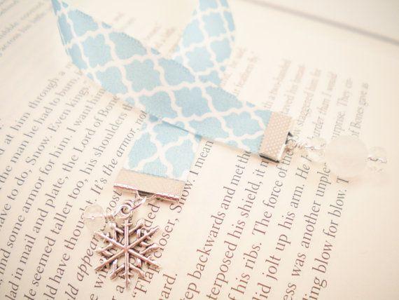 Aqua And White Satin Ribbon Snowflake Bookmark By Araleanne 8 00