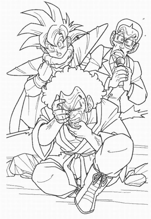 Dragon Ball Z coloring page featuring Gohan and Hercule