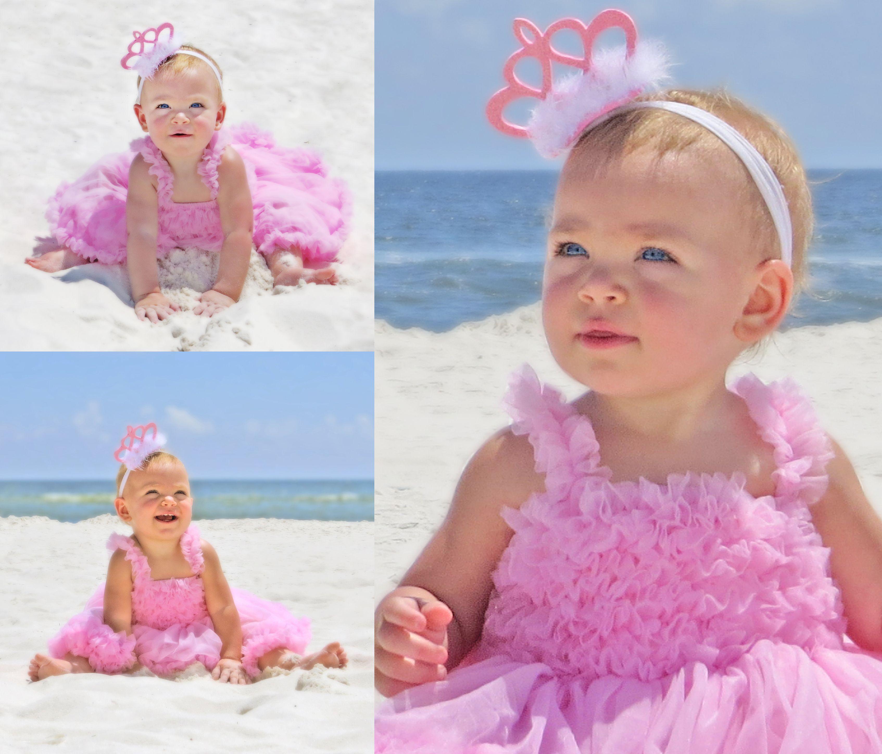 First birthday photo shoot idea on the beach for girls