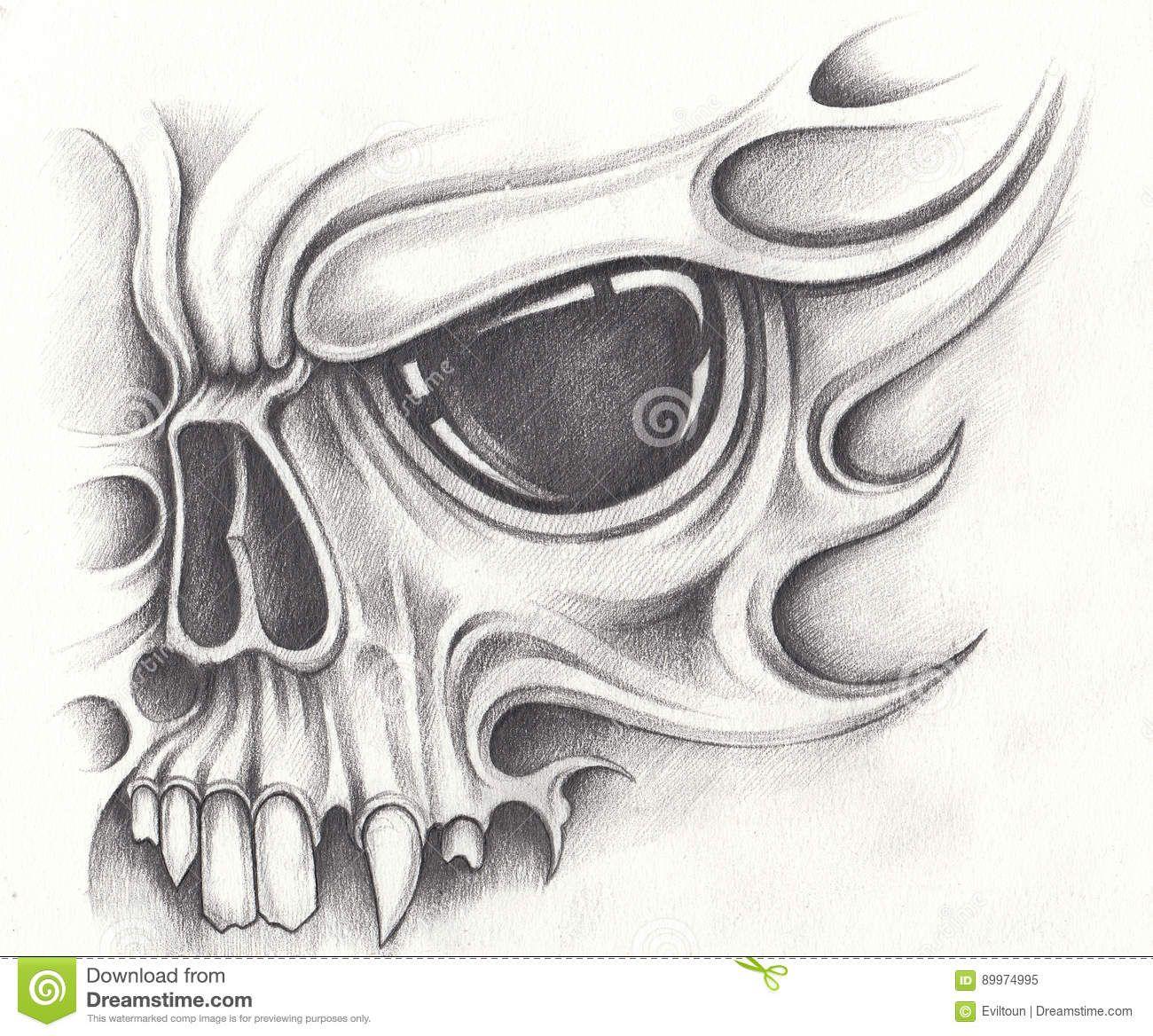 Simple Skull Tattoo Designs On Paper