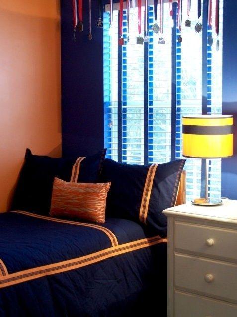 navy blue (and orange) boys room