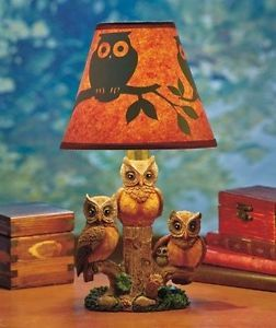 Owl Table Lamp W Disappearing Silhouette Lighting Shade   Home Or Office  Decor