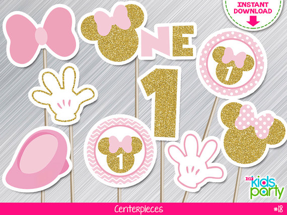 Instant Download Pink And Gold Minnie Mouse Centerpieces First Birthday Print Yourself Pink And Gold Minnie Party Printables Diy Minnie Mouse First Birthday Minnie Party Minnie Mouse Party Decorations