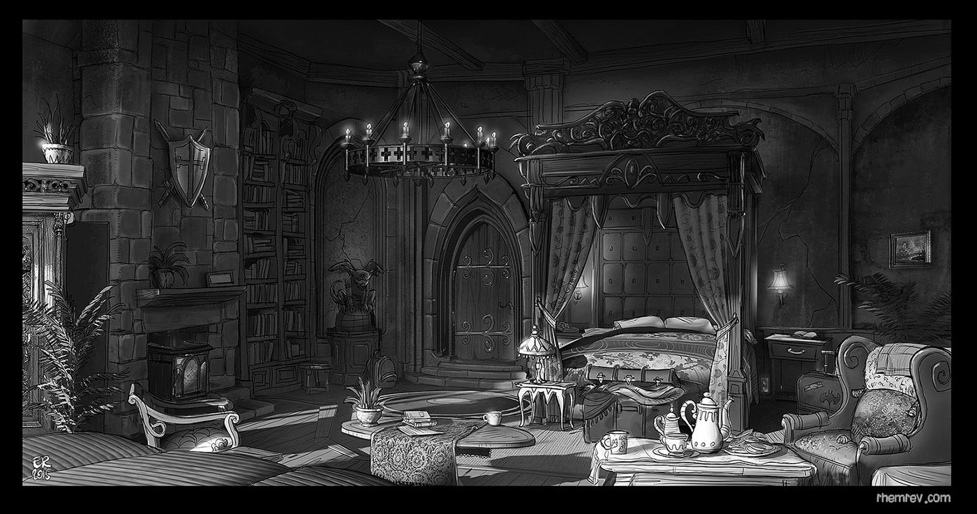 Edwin Rhemrev on Behance in 2020 Castle bedroom, Horror