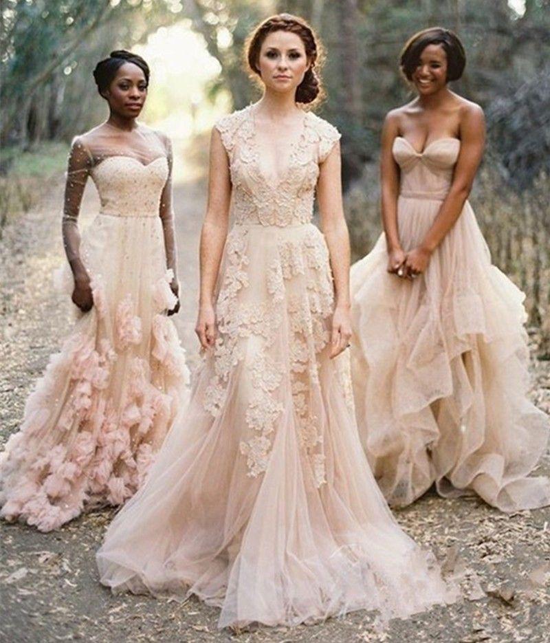 Vintage V Neck Lace Wedding Dresses Rustic Bride Dress A Line Tulle Gowns