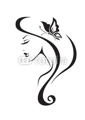 Vector Black And White Silhouette Of The Girl On Fotolia