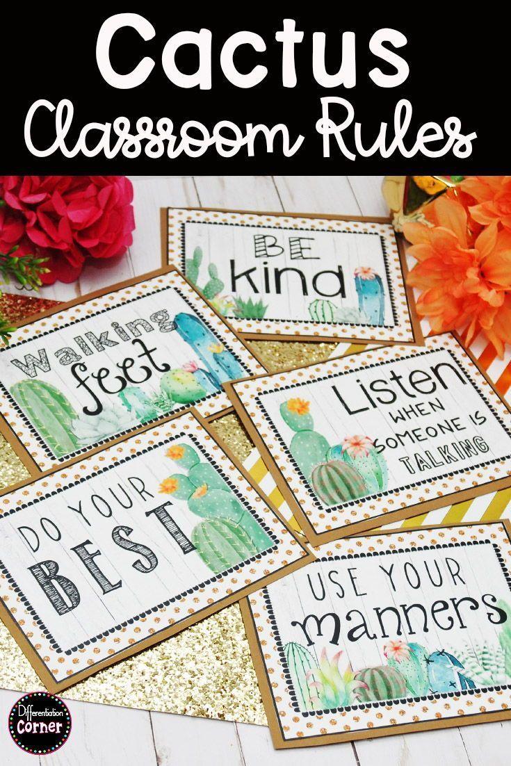 Cactus Classroom Decor Rules Bearbeitbar -