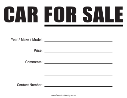 Download This Printable Car For Sale Sign That You Can Conveniently Place In The Car Window Vehicle Fo For Sale Sign Cars For Sale Free Printable Chore Charts