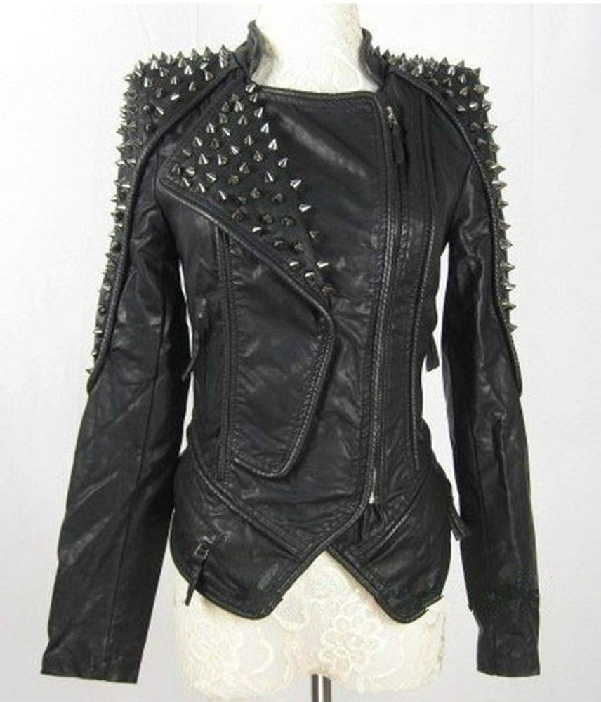 51a7aa12b583c Womens Punk Spike Studded Shoulder Leather Jacket Coat Motorcycle Jacket