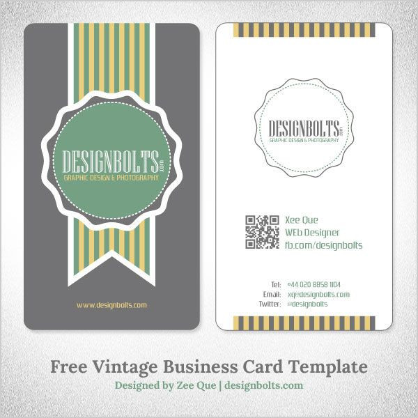 Free Simple Yet Elegant Vintage Business Card Design Template With Qr Code Ai Eps Business Card Template Design Free Business Card Templates Vintage Business Card Design
