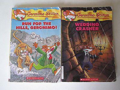 Geronimo Stilton Lot Of 2 Paperbacks Run For The Hills Wedding Crasher Childrens