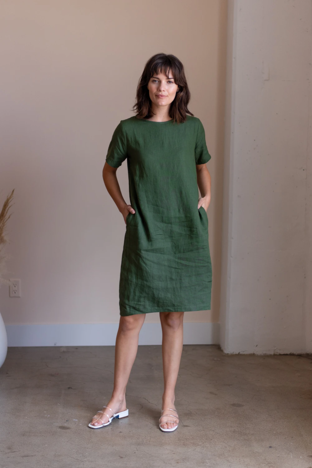 Cocoon shaped style dress ILONA  Linen cocoon dress  Fashionable dress  Blue soft linen dress midi length Natural color