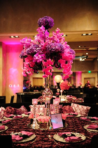 Cascading Pink Orchid Centerpieces From Delaina Johnathan Joseph S Reception Wedding By Tiffany Cook Events