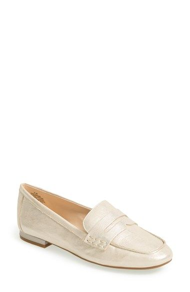Nine West 'Linear' Metallic Penny Loafer (Women) available at #Nordstrom