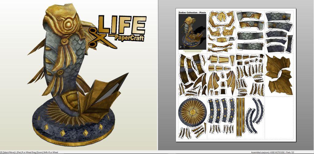 Papercraft .pdo file template for Misc - Zodiac Piscis Figure.