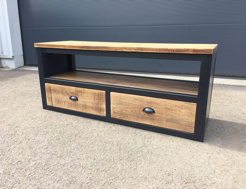 Meuble Tv 2 Tiroirs En Bois Et Metal Etsy Furniture Tv Furniture Metal Drawers
