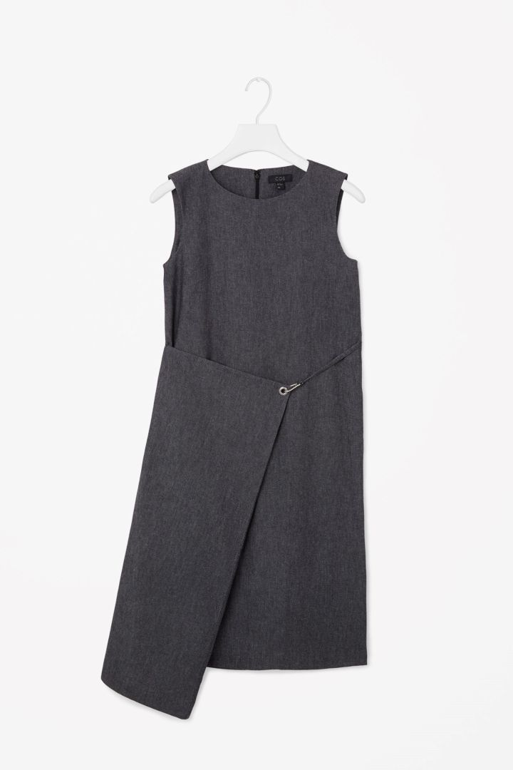 Fold-over denim dress
