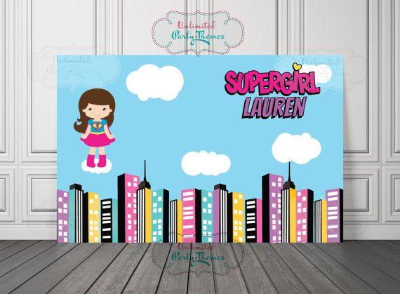 4ft X 25ft Superhero Vinyl Banner By UnlimitedPartyThemes Supergirl Birthday Backdrop