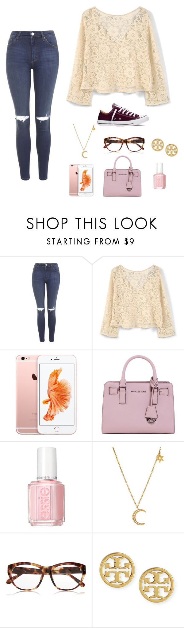 """""""you never say hey or remember my name??"""" by moonhauntedmyocean ❤ liked on Polyvore featuring Topshop, MANGO, MICHAEL Michael Kors, Essie, Linda Farrow, Tory Burch, Converse, women's clothing, women and female"""