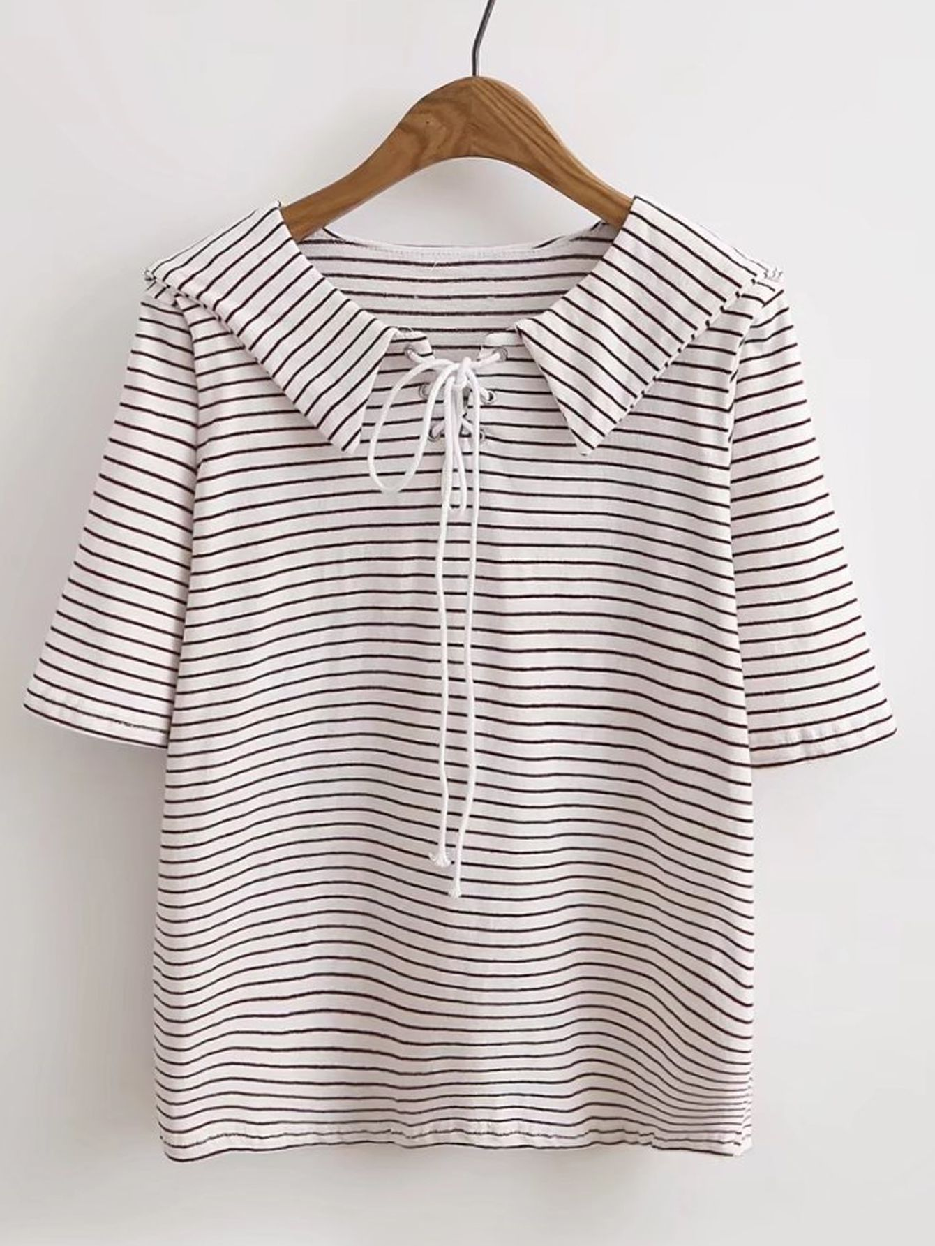 Middy collar lace up grommet tee style pinterest moda blusa