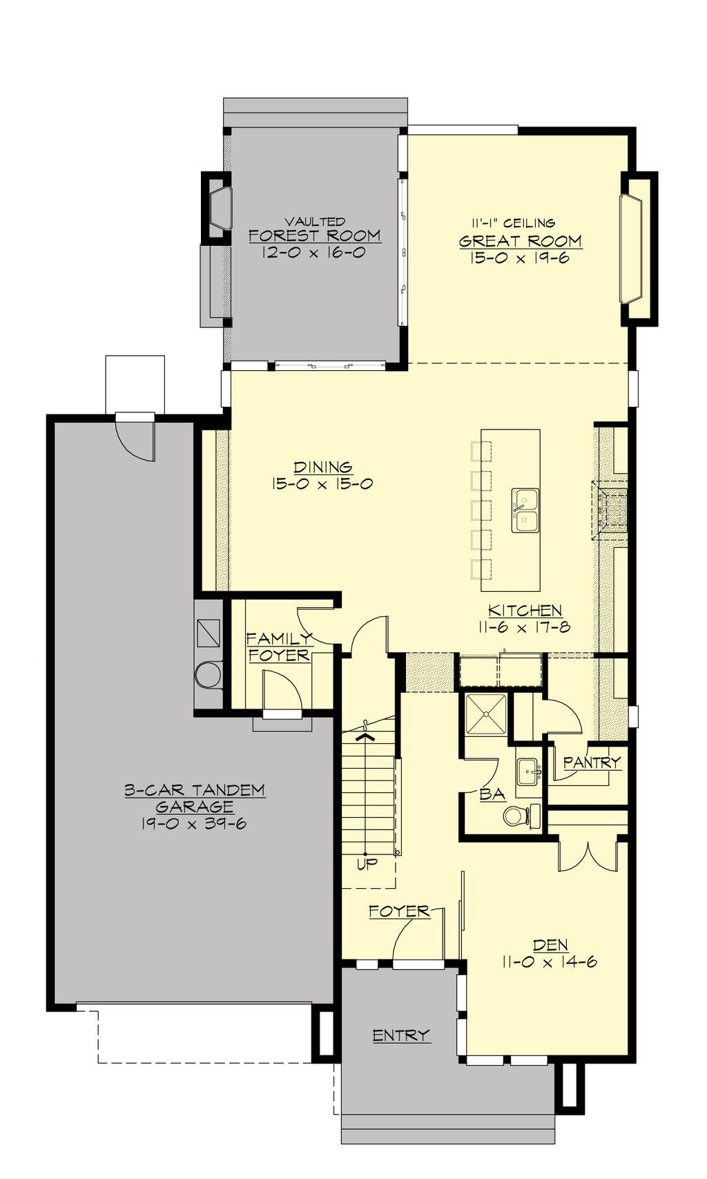 Moderna y elegante casa de dormitorios y pisos plano y fachada