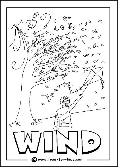 Image of windy day colouring page for after outdoor for Coloring pages weather