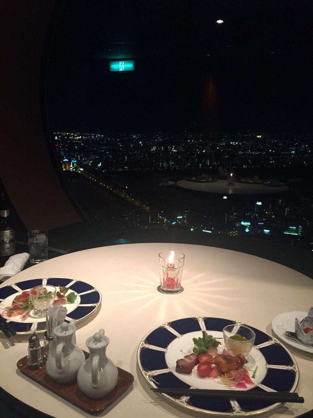 夜景を見ながらディナー♡
