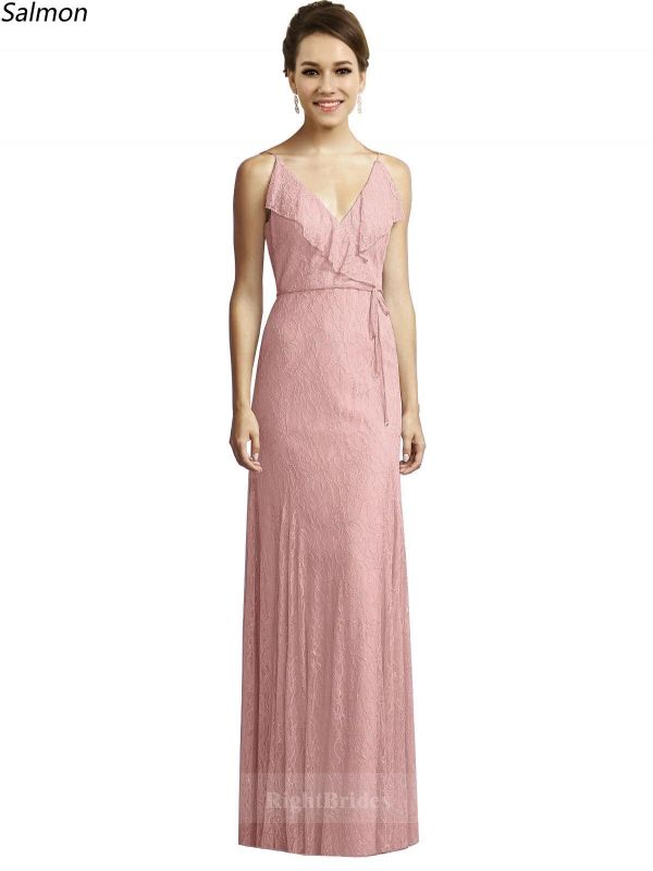 Spring Styles V-Neck Long Lace Salmon Sleeveless Bridesmaid Dresses ...