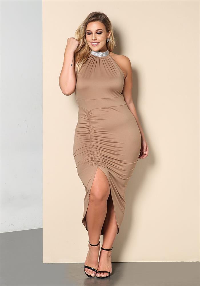 Plus Size Clothing Plus Size Rhinestone Choker Ruched Midi Dress
