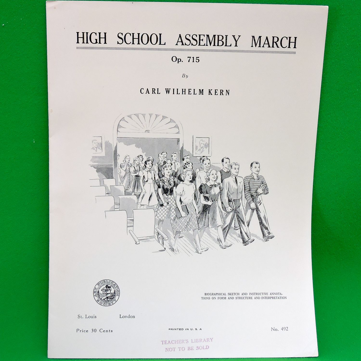 1939 Art Publication Society Teacher's Library Sheet Music, Issue 492