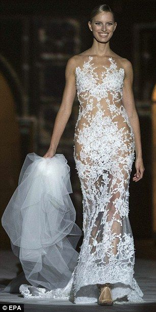 sheer beauty karolina kurkova modelled a see through and racy lace embroidered gown