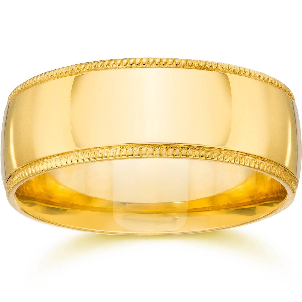 Milgrain Comfort Fit Wedding Band 14k Yellow Gold Yellow Gold Mens Wedding Ring Milgrain Wedding Bands Mens Gold Wedding Band