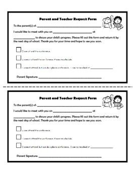 parent teacher conference request form 1st grade 3 pinterest