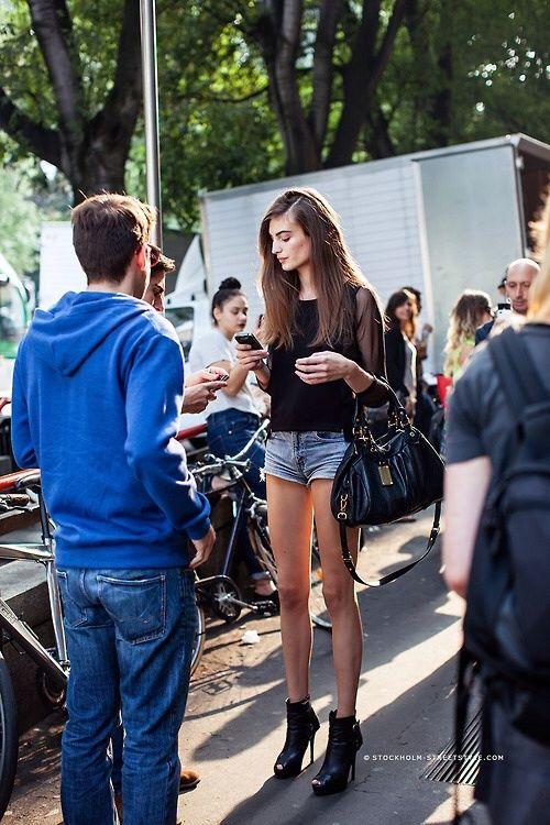 Black blouse+shorts
