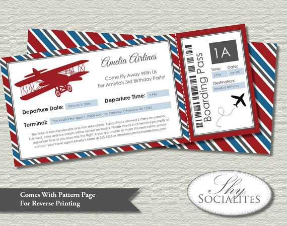 Vintage Airplane Boarding Pass Invitations Ticket, Up Up And - invitation ticket template