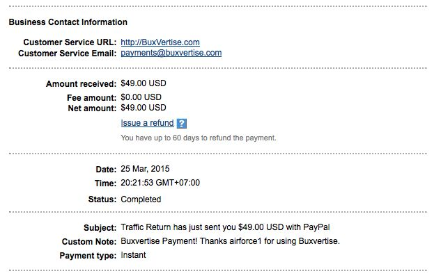 my 2nd payment from buxvertise