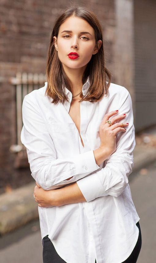 White Shirt Red Lips Classic White Shirt Style Fashion