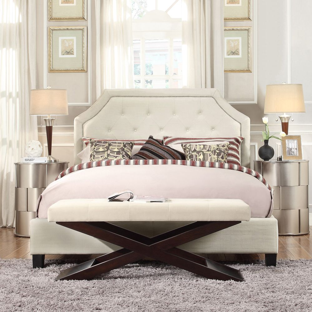 Grace Full-Size Linen Arched Bridge Top Bed by iNSPIRE Q Bold by iNSPIRE Q