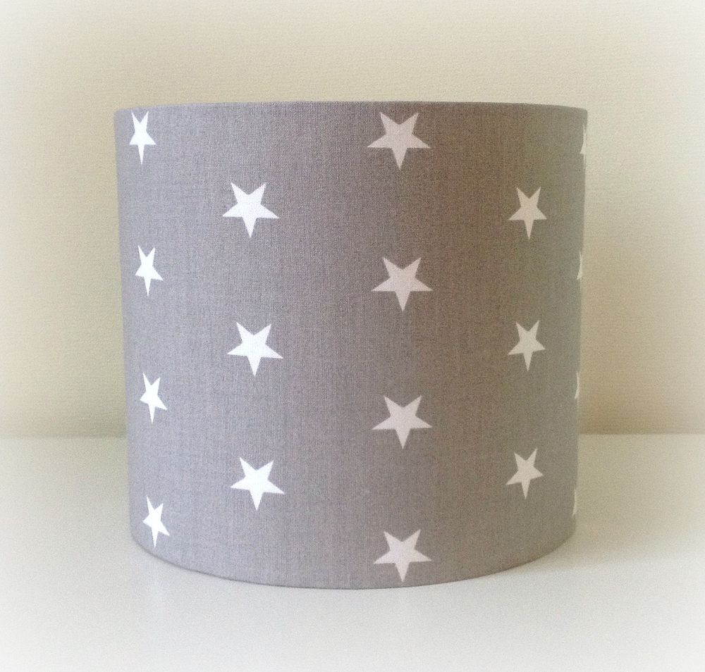 Details About New Grey White Star Fabric Lampshade