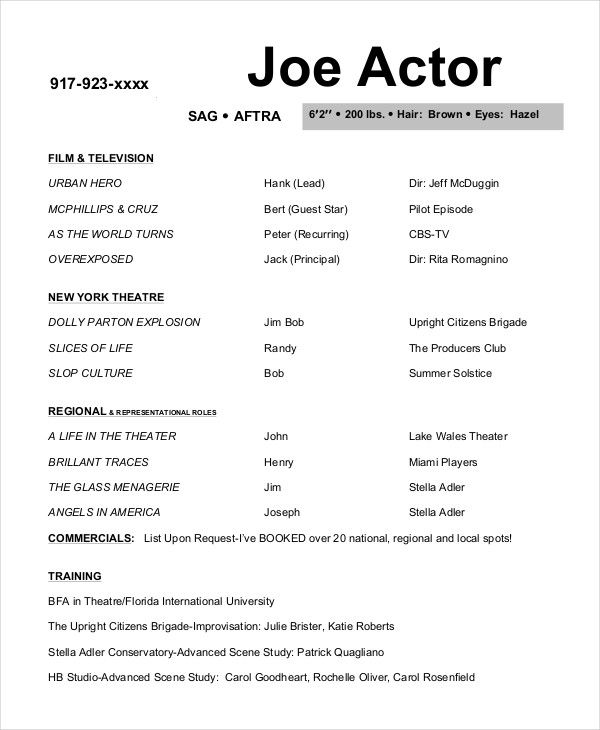Free Actor Resume Template and How to Write Yours Properly , The - sample acting resume